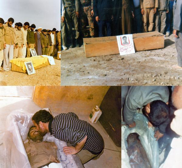 مراسم تشییع و تدفین شهیدان اسماعیل و ابراهیم شریفی. عبّاس، هر دو را در لحد گذاشت...