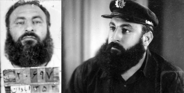 زنده یاد مصطفی سرآندیب (مصطفی ریش). تصویر سمت راست مربوط به دوران جوانی و تصویر سمت چپ، مربوط به بازداشت ایشان در کمیتهء مشترک ضدّ خرابکاری ارتش و ساواک در آبادان است.